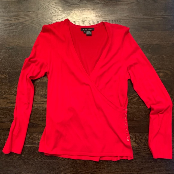 Etcetera Tops - Etcetera Red Wrap Top. Size Large